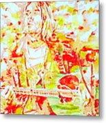 Kurt Cobain Live Concert - Watercolor Portrait Metal Print