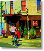 Kusmi Tea And Sandwich Shop St Viateur Corner St Urbain Montreal Summer City Scene  Carole Spandau Metal Print