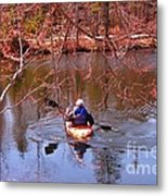 Kyaking On A Lake In Spring Metal Print