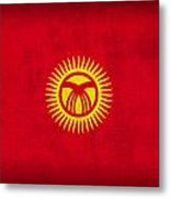 Kyrgyzstan Flag Vintage Distressed Finish Metal Print