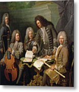 La Barre And Other Musicians, C.1710 Oil On Canvas Metal Print