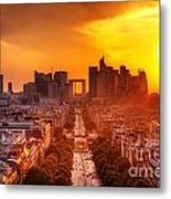 La Defense And Champs Elysees At Sunset Metal Print