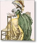 Ladies Elaborate Gown, Engraved Metal Print
