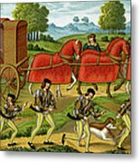 Ladies Hunting, From A Miniature Metal Print