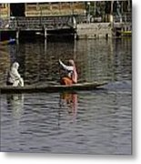 Ladies Plying A Small Boat In The Dal Lake In Srinagar - In Fron Metal Print