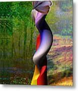 Lady At The Pond With Butterfly Metal Print