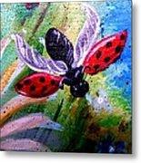 Lady Bug Landing Metal Print