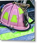 Lady Firefighter Metal Print