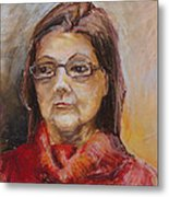 Lady In A Red Pullover Metal Print