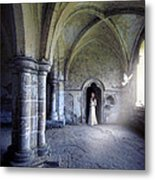 Lady In Abbey Room With Doves Metal Print