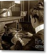 Lady In Early Kitchen Cooking Turkey Dinner 1900 Metal Print