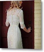 Lady In Edwardian Dress Opening A Door Metal Print