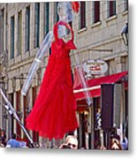 Lady In Red Watching Filming Of Today Show In Old Montreal-qc Metal Print