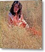 Lady In The Grass - Vert Metal Print