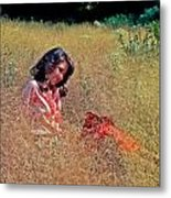 Lady In The Grass -horiz Metal Print