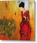 Lady In The Red Dress Metal Print