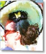 Lady In The White Hat And Trim Metal Print