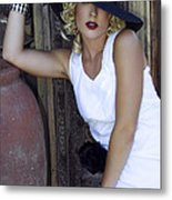 Lady In White Palm Springs Metal Print