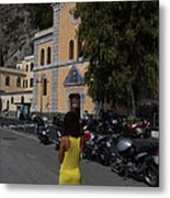 Lady In Yellow By The Church Of San Francesco Maiori Italy Metal Print