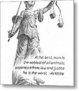 Lady Justice Statue Pencil Portrait Metal Print