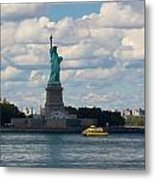 Lady Liberty And Water Taxi Metal Print