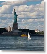 Lady Liberty With Sailboat And Water Taxi Metal Print