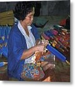 Lady Makes Umbrellas At A Factory Near Chaing Mai Metal Print