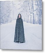 Lady Of The Winter Forest Metal Print