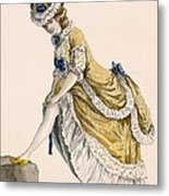 Lady Pulling Up Her Stocking, Engraved Metal Print
