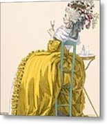 Lady Reclines On Chair Drinking Metal Print