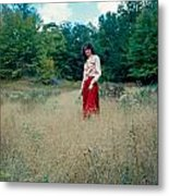 Lady Standing In Grass 2 Metal Print