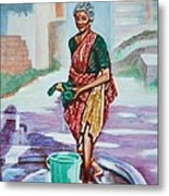 Lady Washing Clothes Metal Print