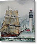 Lady Washington At Grays Harbor Metal Print by James Williamson