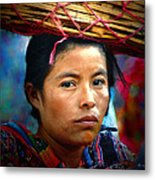Lady With A Basket Metal Print