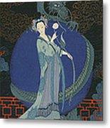 Lady With A Dragon Metal Print