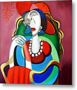 Lady With A Red Hat Metal Print