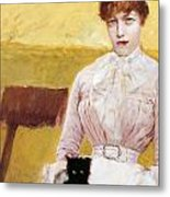 Lady With Black Kitten Metal Print