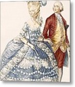 Lady With Her Husband Attending A Court Metal Print