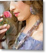 Lady With Pink Rose Metal Print