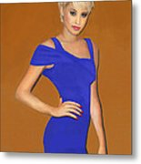 Lady With The Blue Dress Metal Print