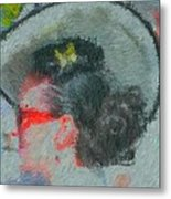Lady With The White Hat Metal Print