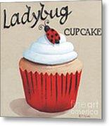 Ladybug Cupcake Metal Print