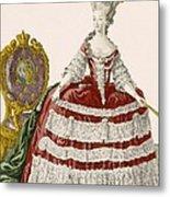 Ladys Court Gown In Dark Cherry Metal Print