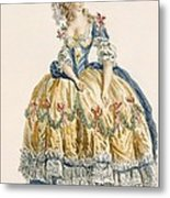 Ladys Elaborate Ball Gown, Engraved Metal Print