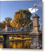 Lagoon Bridge In Autumn Metal Print by Joann Vitali