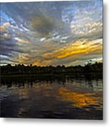 Lagoon Sunset In The Jungle Metal Print