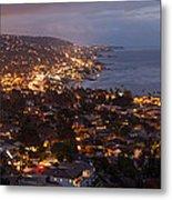 Laguna Beach City At Night Metal Print
