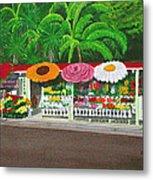 Laguna Beach Flower Stand Metal Print
