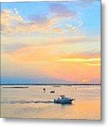 Laguna Madre Fishing At Sunset Metal Print