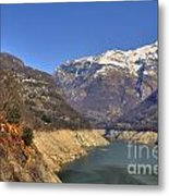 Lake And Snow-capped Mountain Metal Print